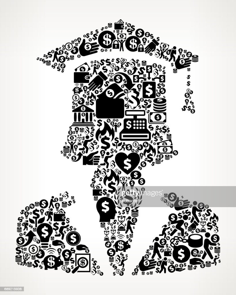Graduation Face  Money and Finance Black and White Icon Background : Stock Illustration