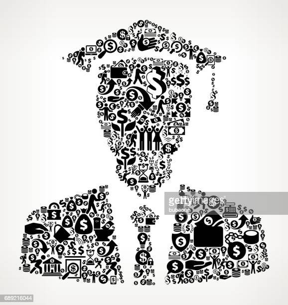 Graduation Face  Money and Finance Black and White Icon Background