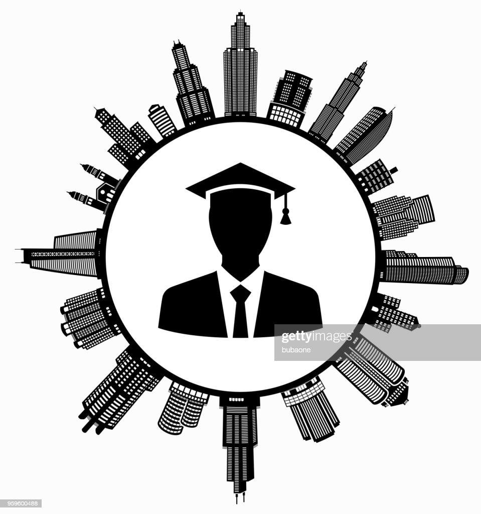 Graduierung Gesicht auf modernen Stadtbild Skyline Hintergrund : Stock-Illustration
