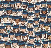Graduation - hand drawn seamless pattern in colour