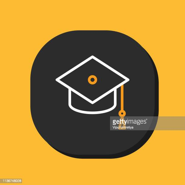 graduation hat and diploma outline icon - tassel stock illustrations