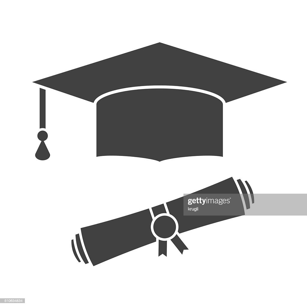 Graduation Hat and Diploma Outline Icon