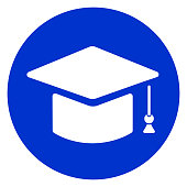 graduation hat circle icon