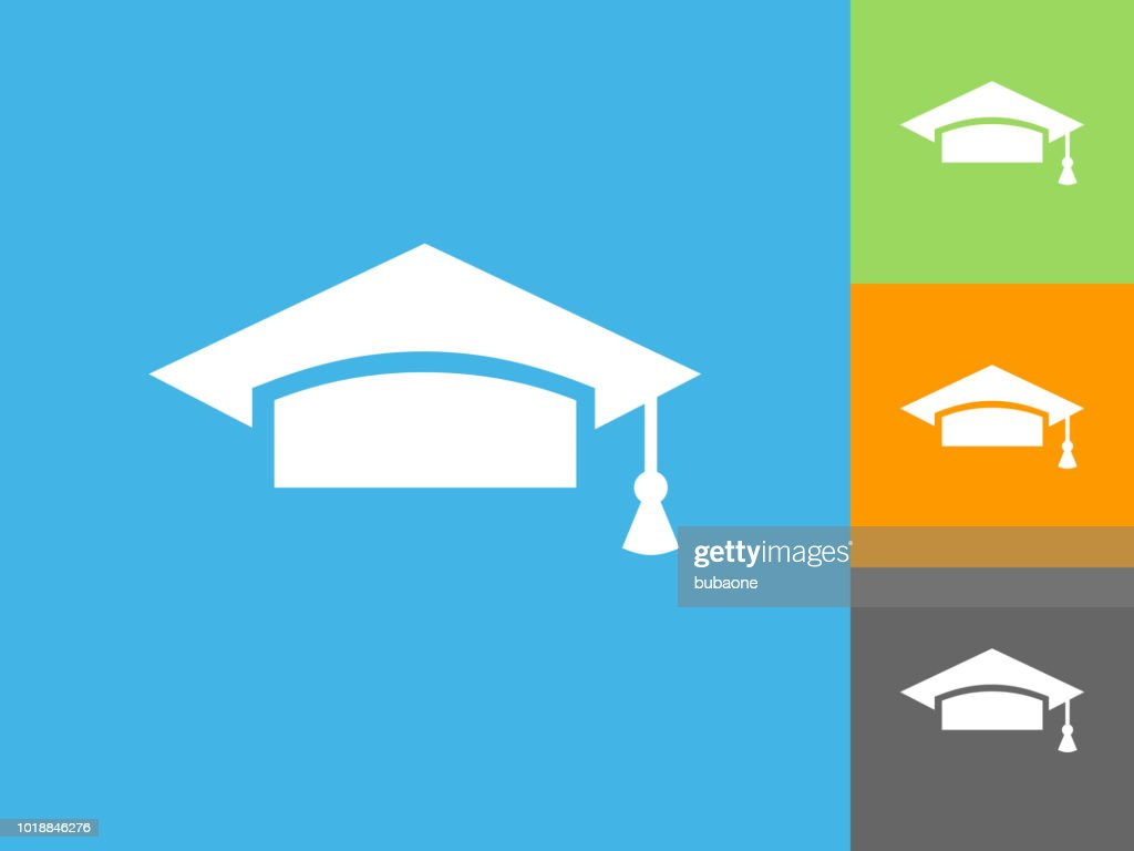 Graduation Hat Flat Icon On Blue Background stock