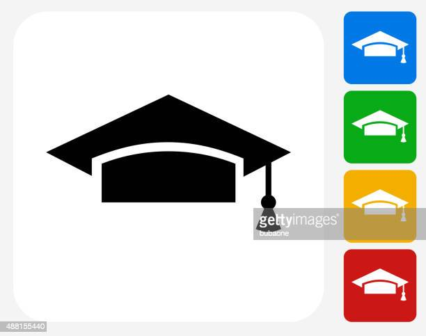 graduation hat icon flat graphic design - tassel stock illustrations