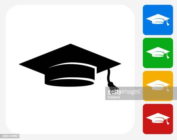 ilustraciones, imágenes clip art, dibujos animados e iconos de stock de sombrero de graduación de iconos planos de diseño gráfico - birrete