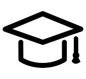 graduation hat icon on white background