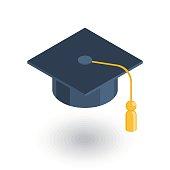graduation hat isometric flat icon. 3d vector