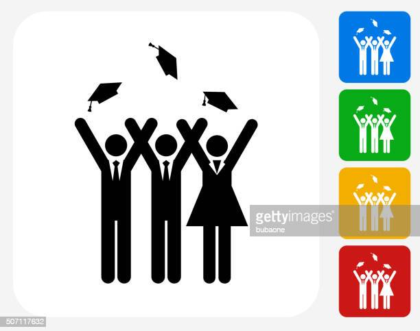 Graduation Icon Flat Graphic Design