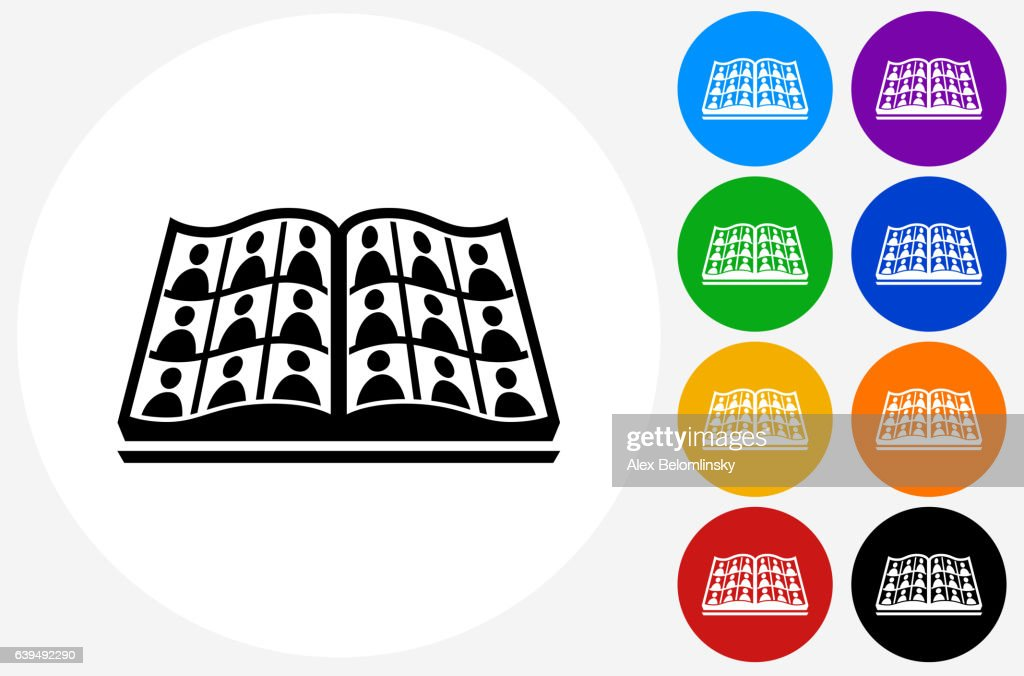 Graduation Icon on Flat Color Circle Buttons