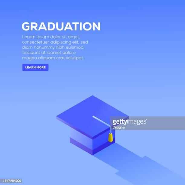 graduation isometric design - tassel stock illustrations