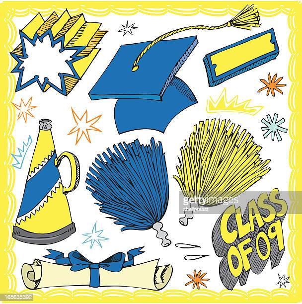 graduation items - pom pom stock illustrations