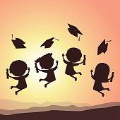 Graduation kids silhouette