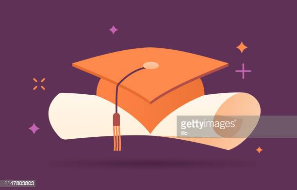 graduation mortarboard and diploma - rolled up stock illustrations