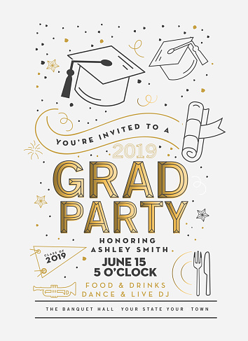 Graduation Party Class of 2019 invitation design template with icon elements - gettyimageskorea