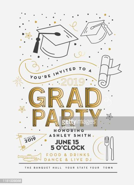 graduation party class of 2019 invitation design template with icon elements - invitation stock illustrations