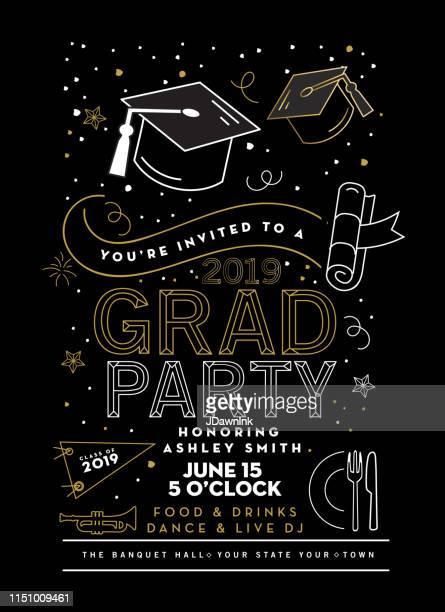 illustrations, cliparts, dessins animés et icônes de graduation party class de 2019 modèle de conception d'invitation avec des éléments d'icône - cérémonie