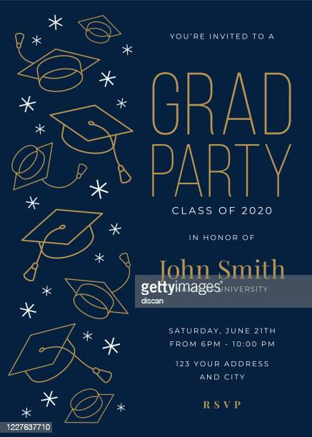graduation party class of 2020 invitation design template with icon elements. - invitation stock illustrations