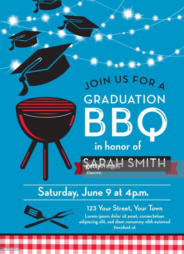 BBQ graduation party invitation design template : stock illustration