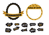 graduation party vector design elements and photo booth props. vector