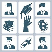 Graduation related vector icon set