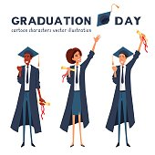 Graduation smiling cartoon characters. Male, female person celebrate commencement.