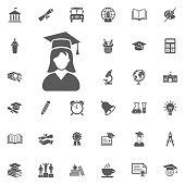 Graduation student icon girl.