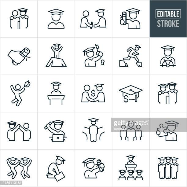 graduation thin line icons - editable stroke - person in education stock illustrations
