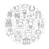 Graduation Time Concept Shape Vector Icons