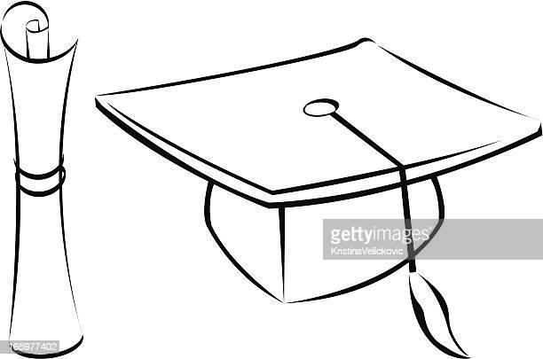 ilustraciones, imágenes clip art, dibujos animados e iconos de stock de graduación - birrete