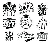 Graduation wishes overlays labels set. Monochrome graduate class of 2017 badges