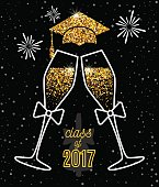 Graduations greeting card 2017 class of with glasses of champagne, hat and fireworks for invitation, banner, poster, postcard