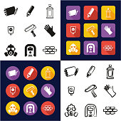 Graffiti All in One Icons Black & White Color Flat Design Freehand Set