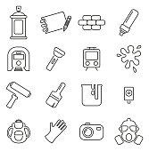 Graffiti Art or Street Art Culture & Equipment Icons Thin Line Vector Illustration Set