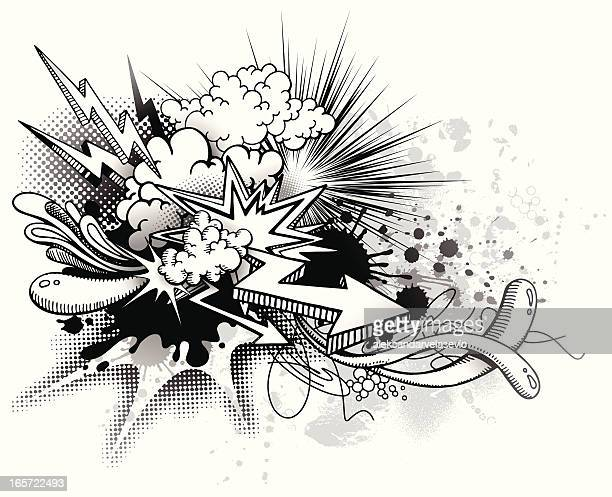 graffiti explosion - smoke physical structure stock illustrations, clip art, cartoons, & icons