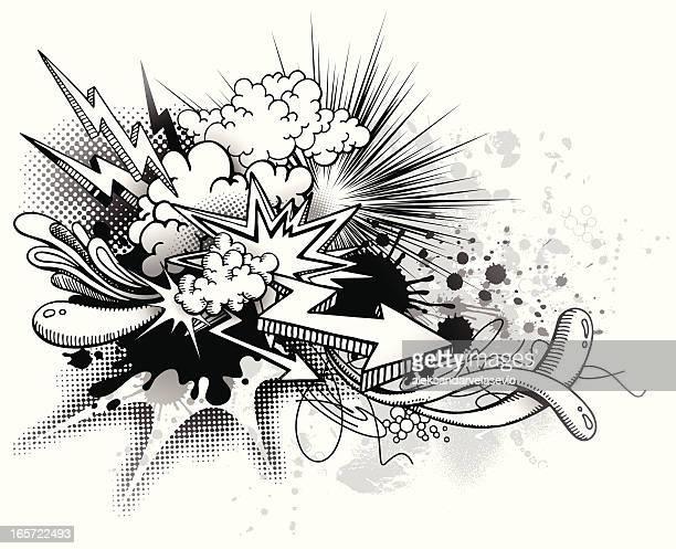 ilustrações de stock, clip art, desenhos animados e ícones de graffiti explosão - hip hop