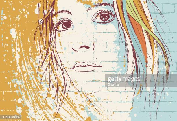 graffiti girl portrait on a wall - mural stock illustrations