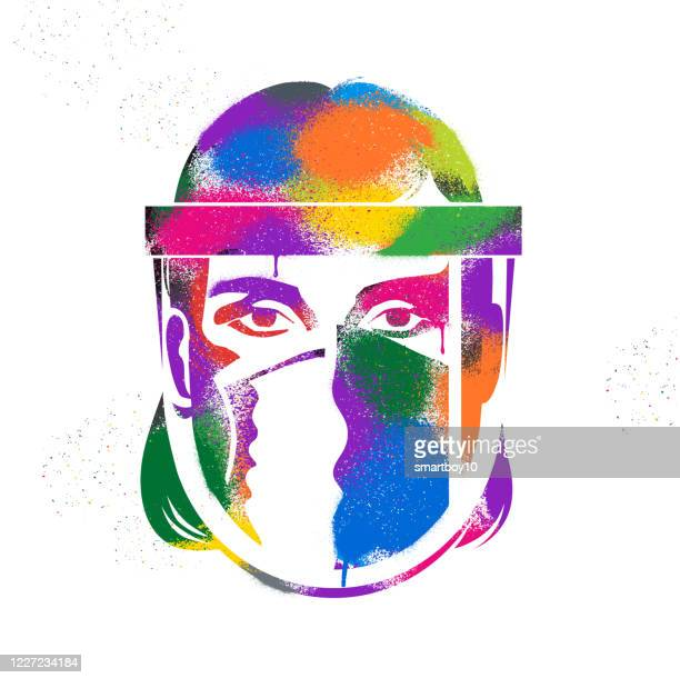 graffiti graphic of key worker wearing ppe - critical care stock illustrations
