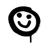 Graffiti grunge emoji with black and white colour