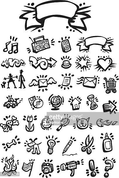 graffiti icon set - pet equipment stock illustrations, clip art, cartoons, & icons