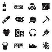 Graffiti Icons. Black Flat Design. Vector Illustration.