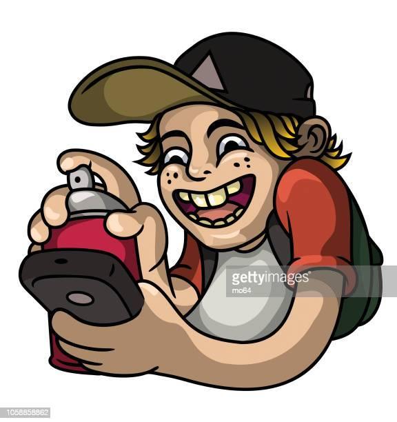 illustrations, cliparts, dessins animés et icônes de kid de graffiti - cyclope