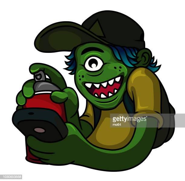 graffiti monster - cyclops stock illustrations, clip art, cartoons, & icons