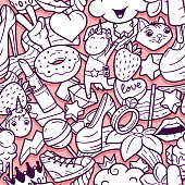 Graffiti seamless pattern with girlish doodles