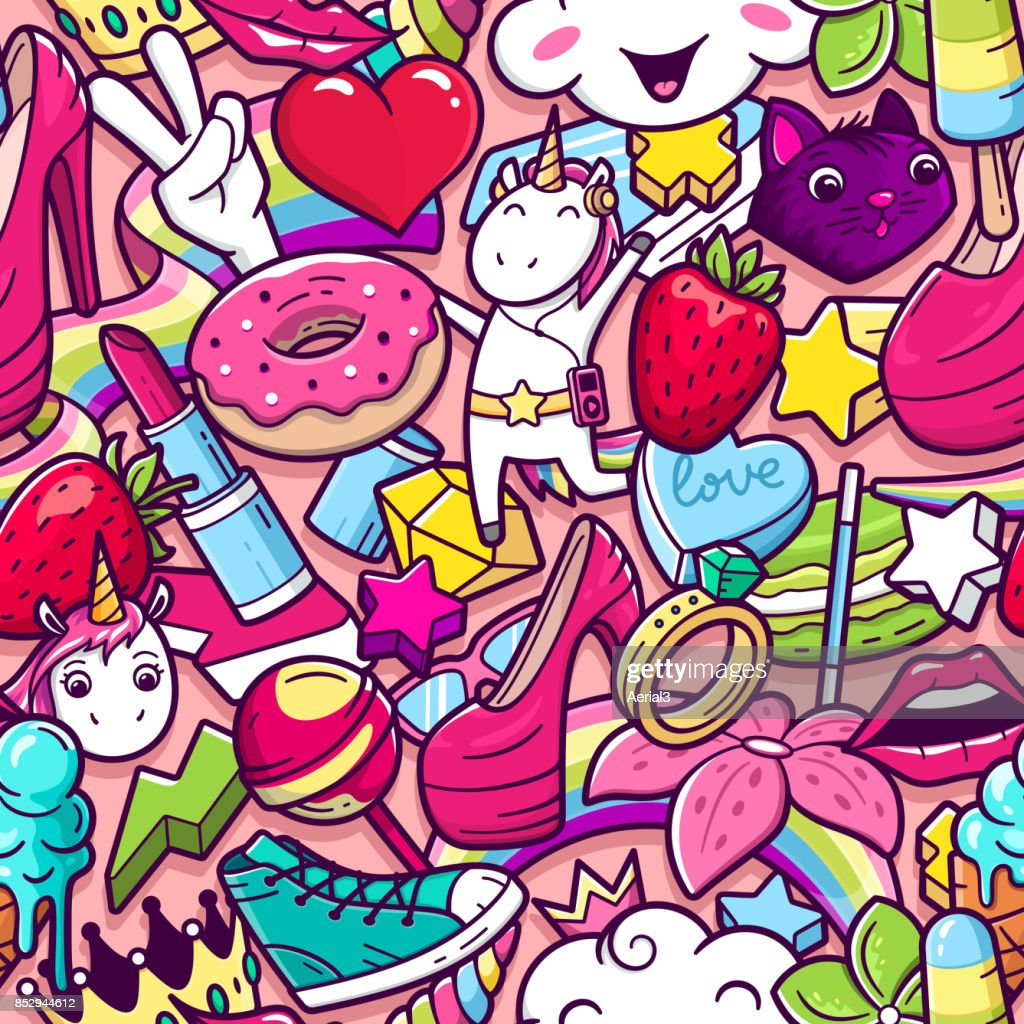 Graffiti seamless pattern with girlish style doodles
