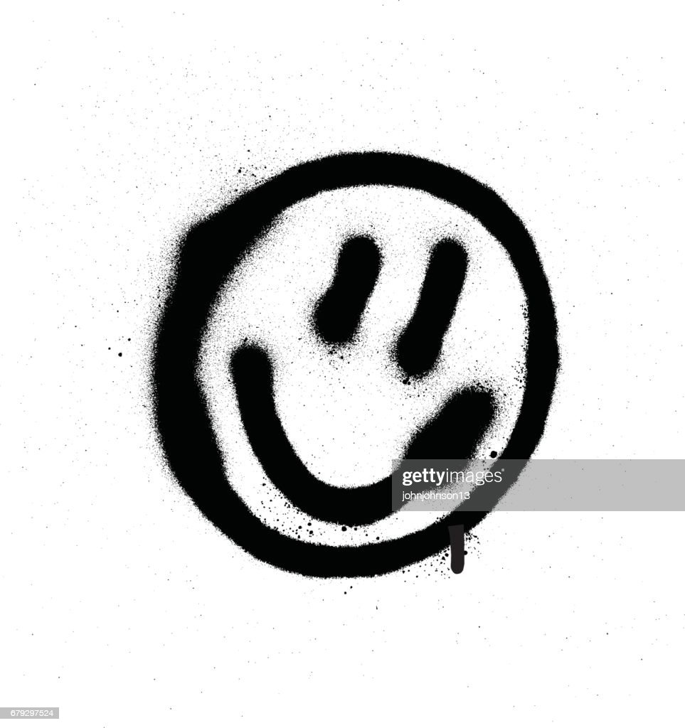 graffiti smiling face emoticon in black on white