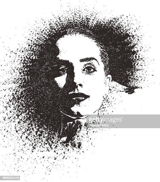 Graffiti, spray paint style portrait of a young woman with zoom effect