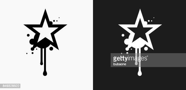 Graffiti Star Icon on Black and White Vector Backgrounds