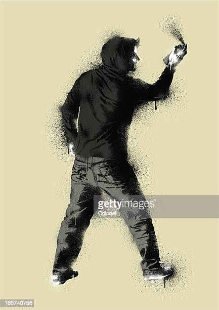 graffiti stencil urban artist - city life stock illustrations, clip art, cartoons, & icons