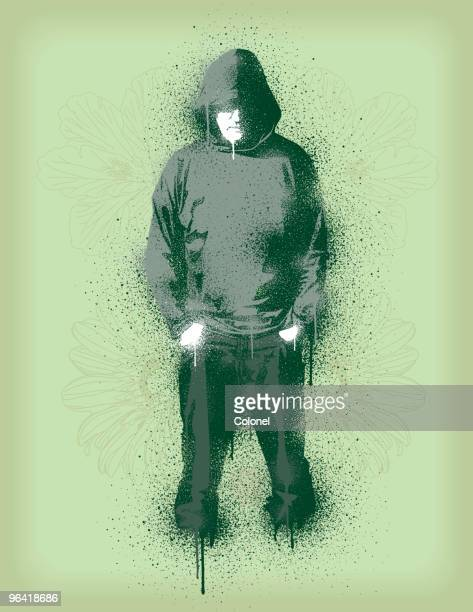 graffiti style illustration of a man in hoody and pants - hooded top stock illustrations
